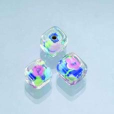 Sklenené korálky, kocky, kvetinky Modrá