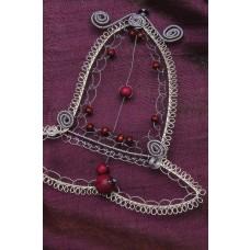 Drôtený zvon Strieborno fialový