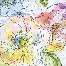 Servítka Kvety akvarel
