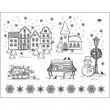 Silikónové pečiatky Zimná dedinka 14x18 cm