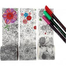 Washi páska Vymaľovánka Kvetinky