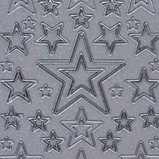 Vianočná samolepka Biela perleťová / Strieborná Hviezdy
