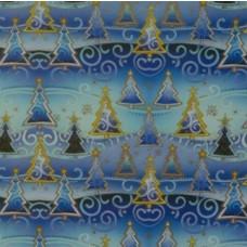 Baliaci vianočný papier Modro-zlatý Stromčeky