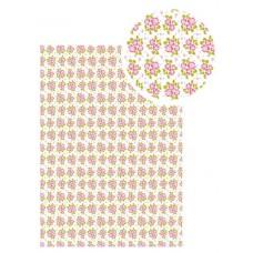 Samolepiaca látka Biela s ružovými kvetmi