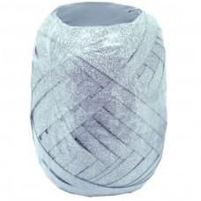 Darčeková stuha plast Strieborná perleťová