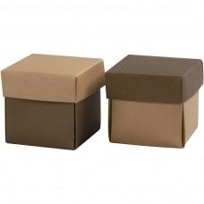 Krabička na darčeky 5,5x5,5 cm Hnedá