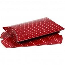 Krabička Elipsa 10x8x2 cm Červená s bodkami