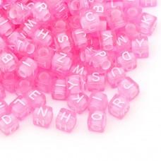 Písmenkové korálky kocky Ružové