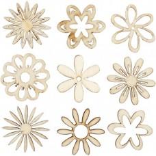 Drevené ozdoby Kvetinky 45 ks
