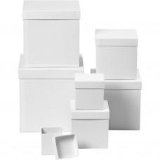 Papierová krabica Štvorec, Kocka Biela 7 veľkostí