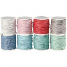 Bavlnená voskovaná šnúrka 8 farieb Pastel / 40 m