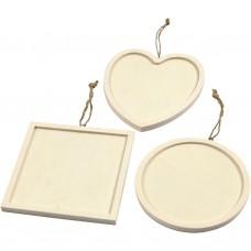 Drevený rámik Srdce, kruh štvorec