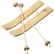 Miniatúrne Drevené lyže s palicami