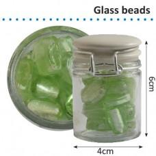 Sklenené korálky v dóze Zelená perleťová