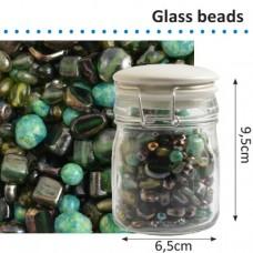 Sklenené korálky v dóze Zelená zmes 150 g