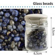 Sklenené korálky v dóze Modrá zmes 150 g
