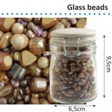 Sklenené korálky v dóze Hnedá zmes 150 g