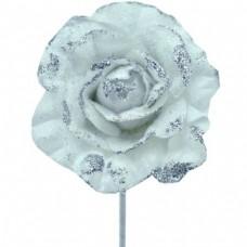 Umelý kvet Ruža s glitrami Bielostrieborná