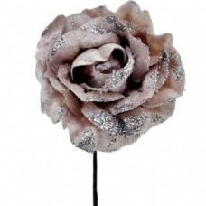 Umelý kvet Ruža s glitrami Staroružová
