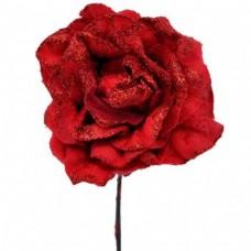 Umelý kvet Ruža s glitrami Červená