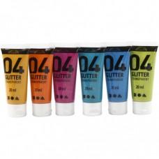 Sada glitrovaných akrylových farieb 6x20 ml