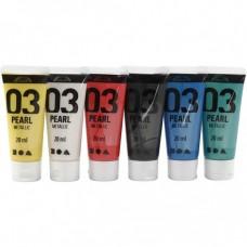 Sada perleťových akrylových farieb 6x20 ml