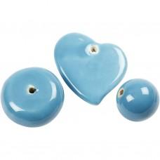 Porcelánové korálky Veľké Modrá svetlá