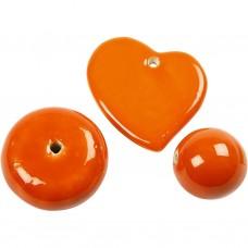 Porcelánové korálky Veľké Oranžová