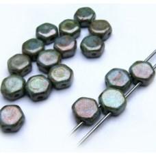 Korálky Hexagon Petrolejová perleťová