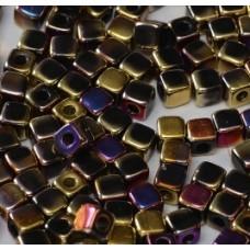 Korálky kocky Zlaté s fialovou perleťou