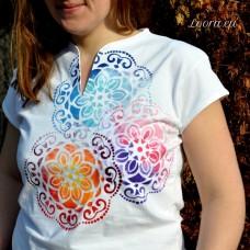 Ručne maľované dámske tričko Mandaly