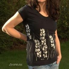 Ručne maľované dámske tričko Biele listy