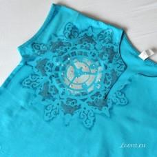 Ručne maľované dámske tričko Tyrkysová