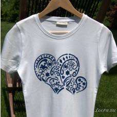 Ručne maľované tričko Srdce v modrom