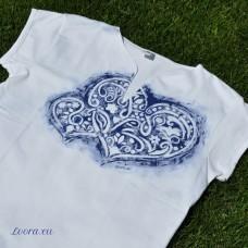 Ručne maľované tričko Modravé srdiečko