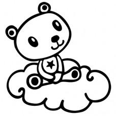 Penová pečiatka Macko v oblakoch