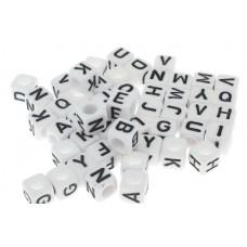 Písmenkové korálky kocky Biele