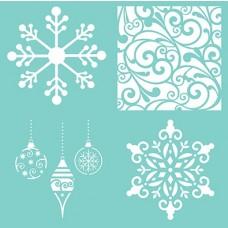Šablóna Vianočné ozdoby, vločka 4 vzory