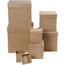 Papierová krabica Štvorec, Kocka 7 veľkostí