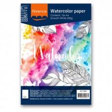 Akvarelový papier Florence Smooth white / Biely hladký A4 200 g/m2 / 12 ks