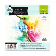 Akvarelový papier Florence Smooth white / Biely hladký 30,5x30,5 cm 300 g/m2 / 5 ks