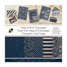 Vzorovaný papier Indigo kraft& champagne