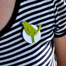Brošňa zelený Vtáčik
