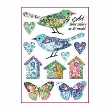 Ryžový papier A4 Birds and fantasy nests - Vtáčia fantázia