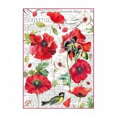 Ryžový papier A4 Botanic poppy - Divý mak