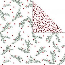 Dizajnový obojstranný papier 30,5x30,5 Vetvičky / Červené bodky