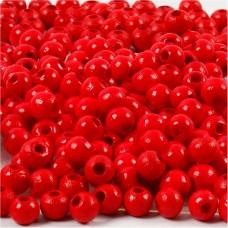Drevené korálky Červená 4 mm
