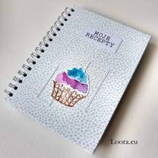 Receptár Modrý bublinkový Cupcake A5