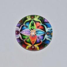 Sklenený kabošon Mandala farebná 1