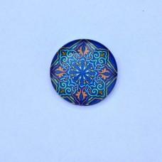 Sklenený kabošon Mandala modrá
